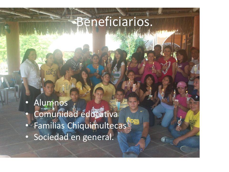 Beneficiarios. Alumnos Comunidad educativa Familias Chiquimultecas Sociedad en general.