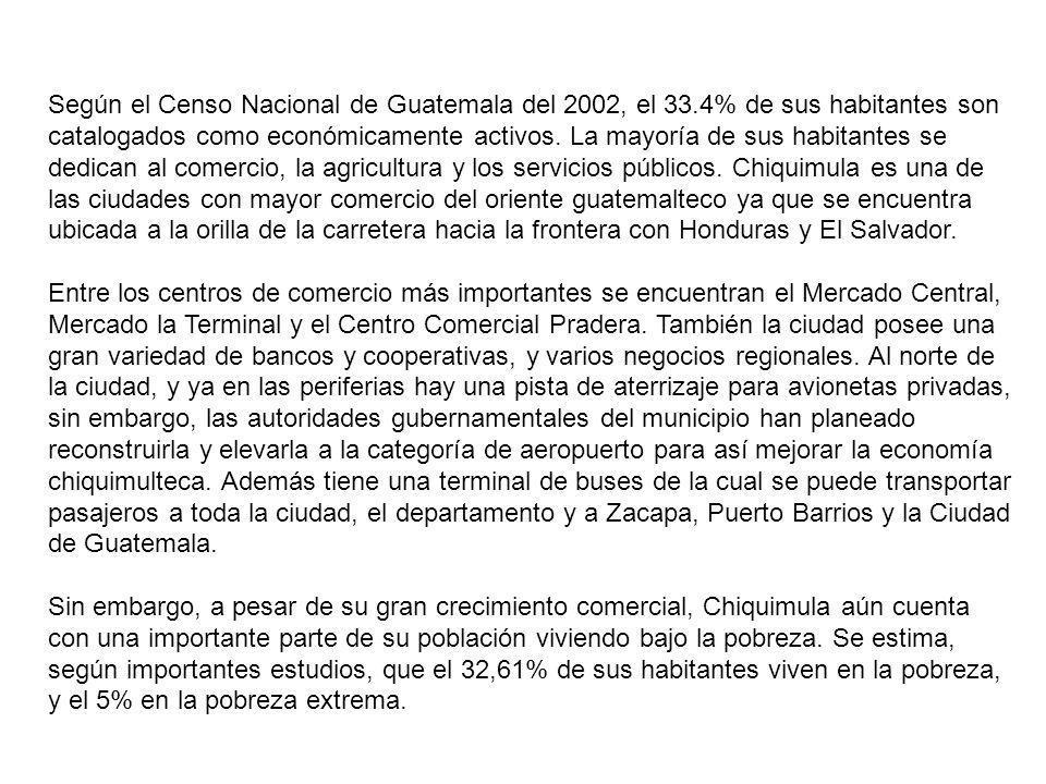 Según el Censo Nacional de Guatemala del 2002, el 33.4% de sus habitantes son catalogados como económicamente activos. La mayoría de sus habitantes se