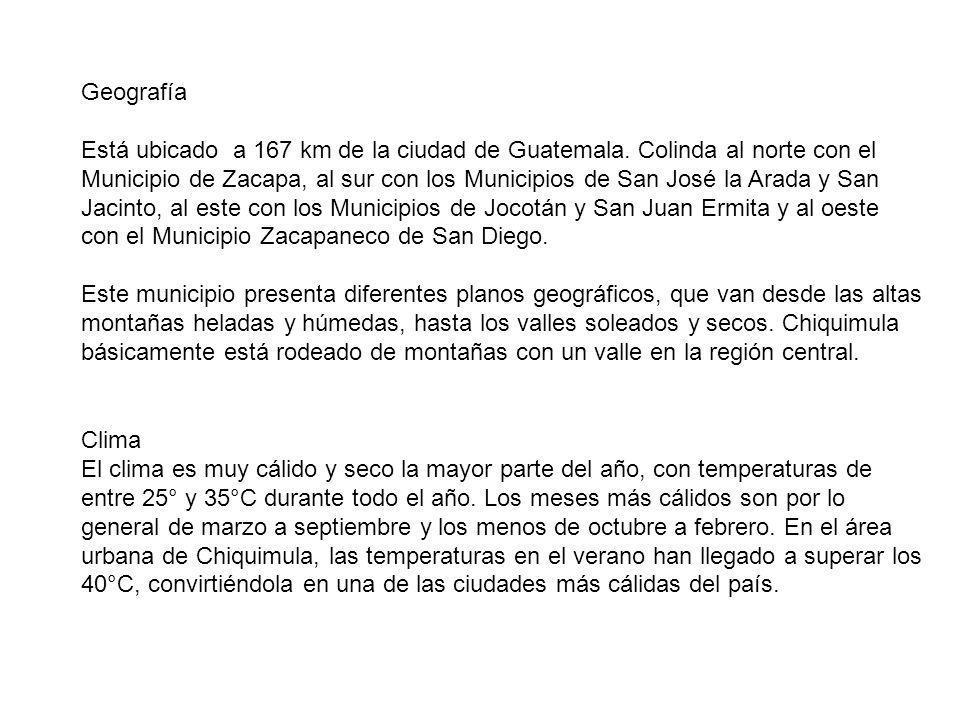 Geografía Está ubicado a 167 km de la ciudad de Guatemala. Colinda al norte con el Municipio de Zacapa, al sur con los Municipios de San José la Arada
