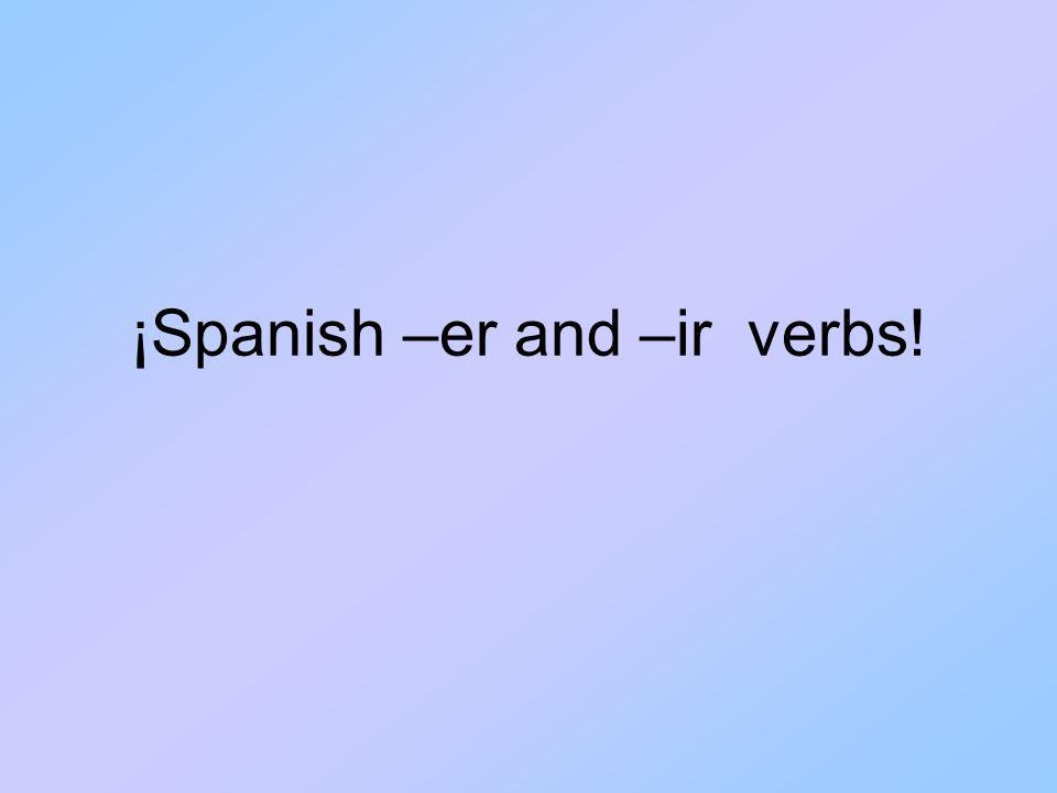 Verbs de er y ir (Infinitivos) ERIR Comer = to eatVivir = to live Beber = to drinkRecibir = to receive Leer = to readEscribir = to write Aprender = to learnDecidir = to decide Ver = to see (*Yo veo)Asistir = to attend Comprender = to understand