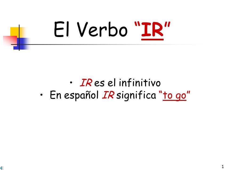 1 El Verbo IR IR es el infinitivo En español IR significa to go