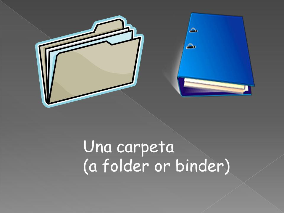 Una carpeta (a folder or binder)
