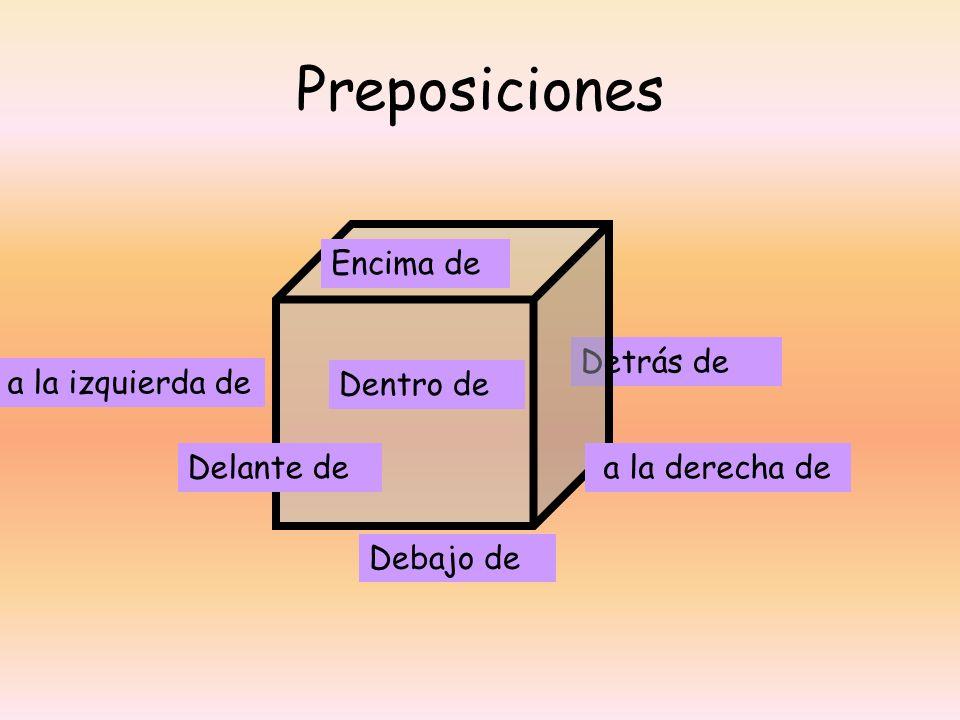 Detrás de Preposiciones Dentro de Debajo de Encima de Delante de a la derecha de a la izquierda de