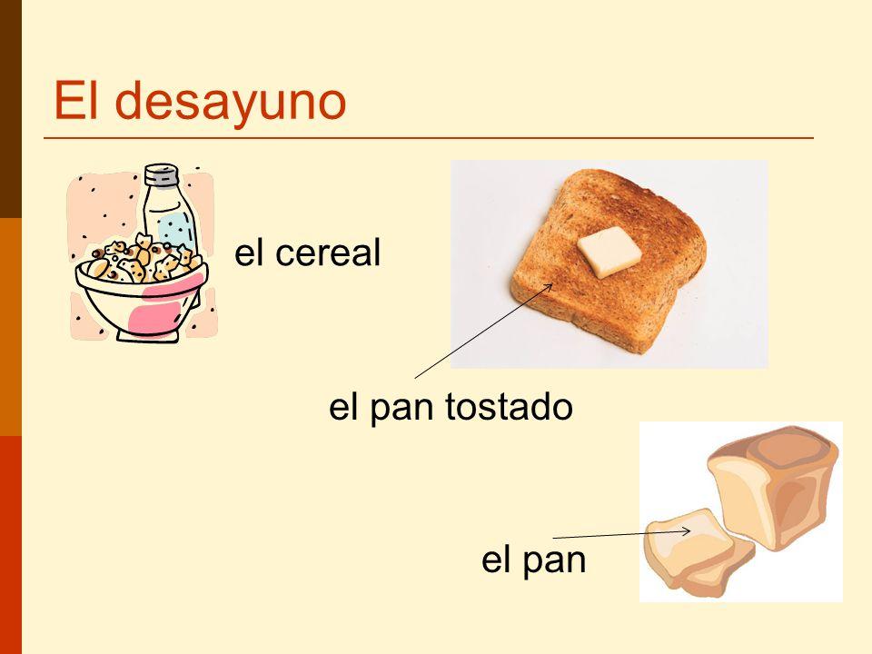 El desayuno el cereal el pan tostado el pan