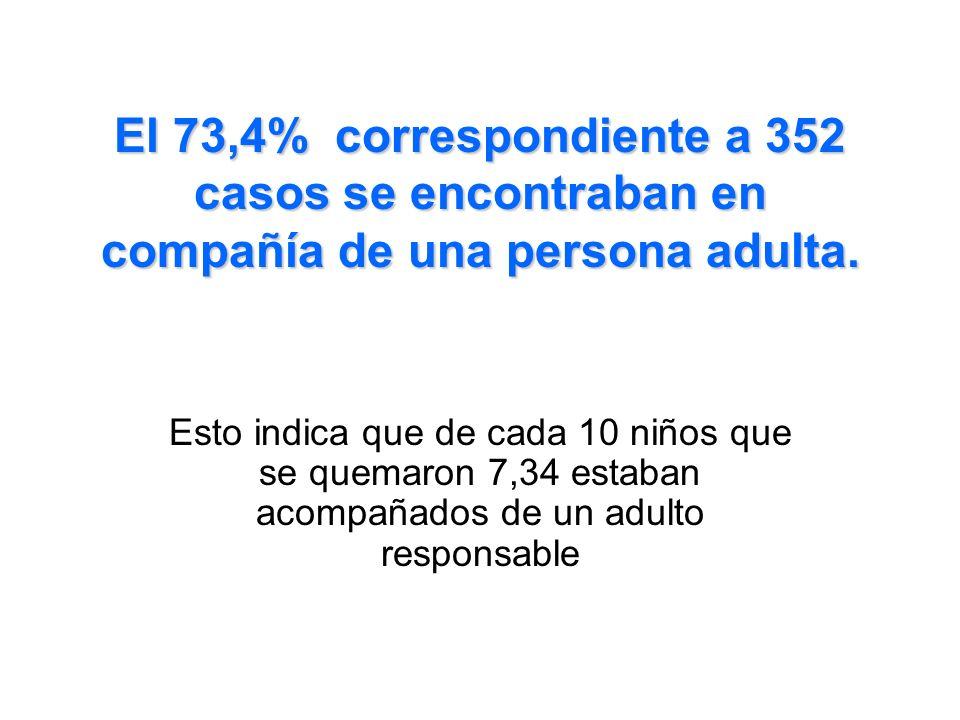 El 73,4% correspondiente a 352 casos se encontraban en compañía de una persona adulta. Esto indica que de cada 10 niños que se quemaron 7,34 estaban a