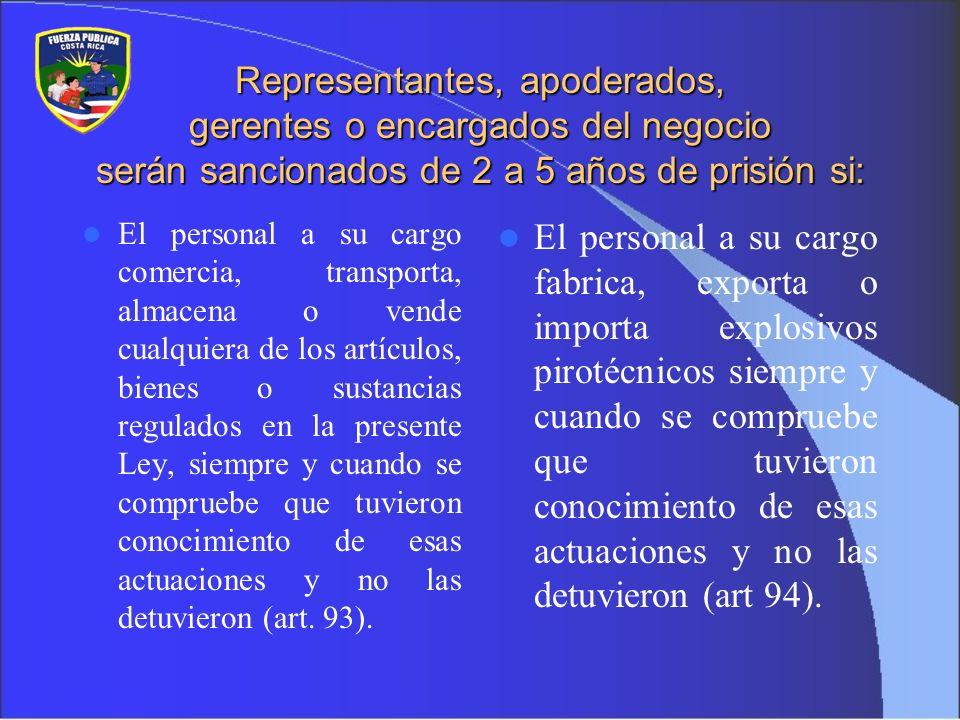 Representantes, apoderados, gerentes o encargados del negocio serán sancionados de 2 a 5 años de prisión si: El personal a su cargo comercia, transpor