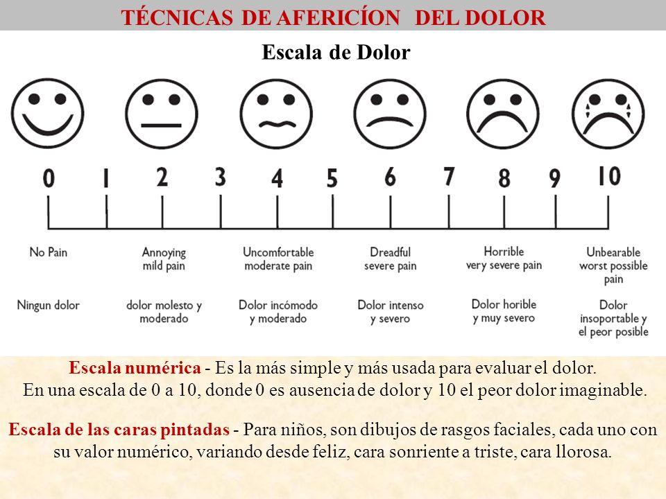 Escala de Dolor Escala numérica - Es la más simple y más usada para evaluar el dolor. En una escala de 0 a 10, donde 0 es ausencia de dolor y 10 el pe