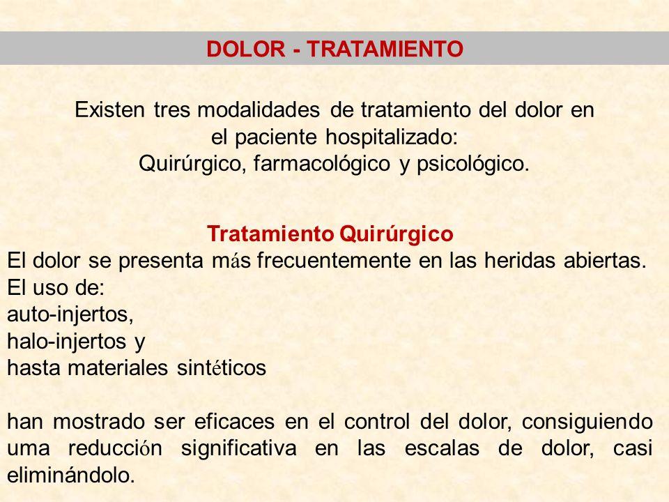 Existen tres modalidades de tratamiento del dolor en el paciente hospitalizado: Quirúrgico, farmacológico y psicológico. Tratamiento Quirúrgico El dol