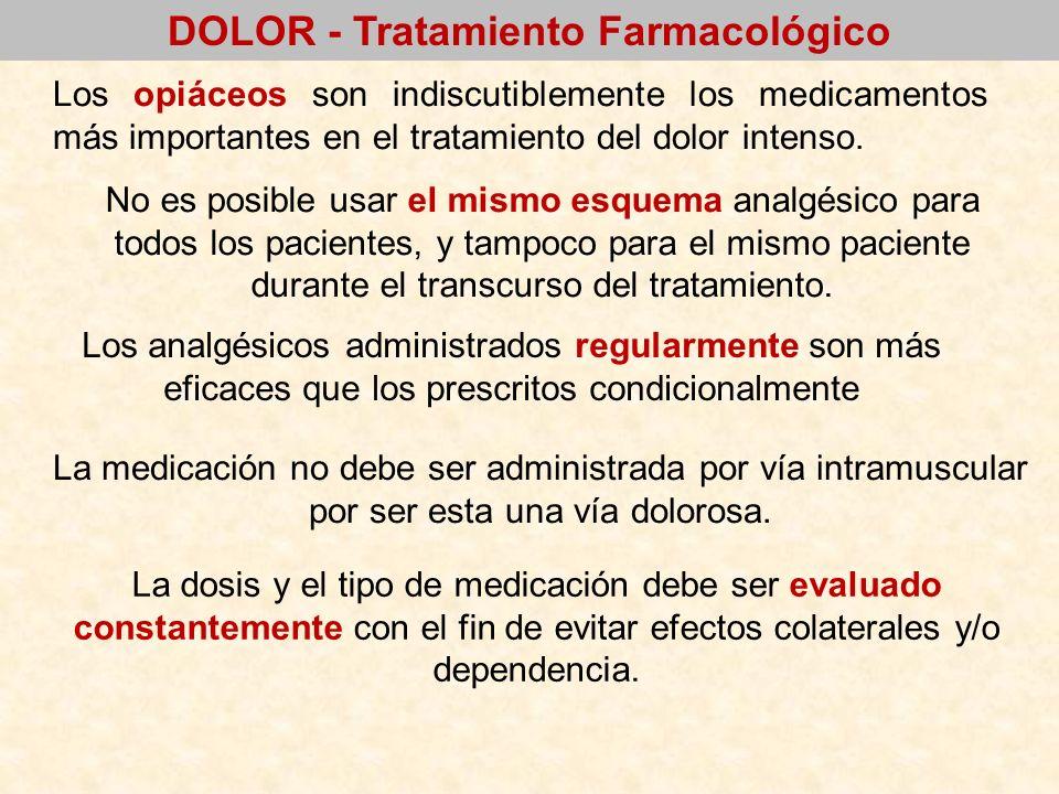 DOLOR - Tratamiento Farmacológico Los opiáceos son indiscutiblemente los medicamentos más importantes en el tratamiento del dolor intenso. No es posib