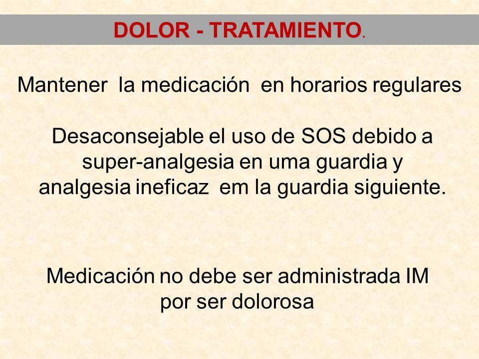 Mantener la medicación en horarios regulares Desaconsejable el uso de SOS debido a super-analgesia en uma guardia y analgesia ineficaz em la guardia s