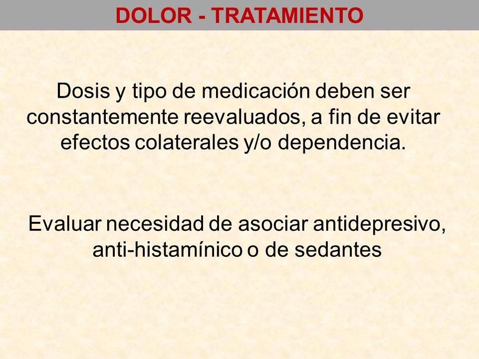 Dosis y tipo de medicación deben ser constantemente reevaluados, a fin de evitar efectos colaterales y/o dependencia. Evaluar necesidad de asociar ant