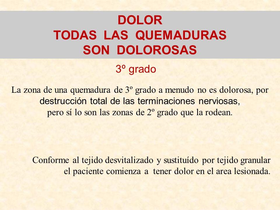 3º grado DOLOR TODAS LAS QUEMADURAS SON DOLOROSAS Conforme al tejido desvitalizado y sustituído por tejido granular el paciente comienza a tener dolor