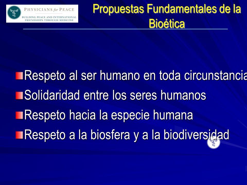 ____________________________________________________________ Propuestas Fundamentales de la Bioética Respeto al ser humano en toda circunstancia Solidaridad entre los seres humanos Respeto hacia la especie humana Respeto a la biosfera y a la biodiversidad