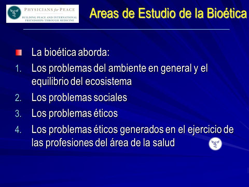 ____________________________________________________________ Areas de Estudio de la Bioética La bioética aborda: 1.