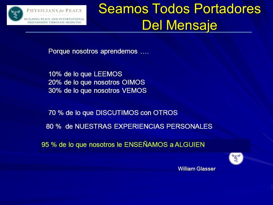 ____________________________________________________________ Seamos Todos Portadores Del Mensaje 10% de lo que LEEMOS 20% de lo que nosotros OIMOS 30% de lo que nosotros VEMOS Porque nosotros aprendemos ….