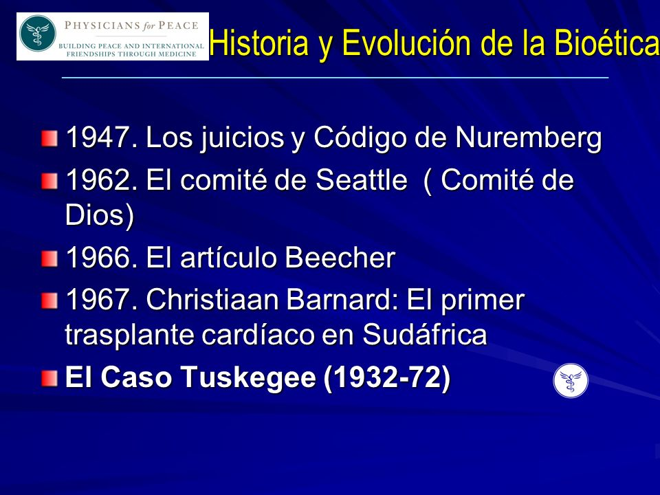 ____________________________________________________________ Historia y Evolución de la Bioética 1947.