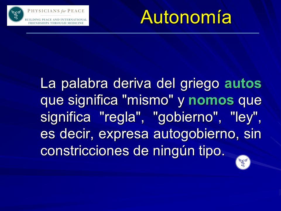 ____________________________________________________________Autonomía La palabra deriva del griego autos que significa mismo y nomos que significa regla , gobierno , ley , es decir, expresa autogobierno, sin constricciones de ningún tipo.