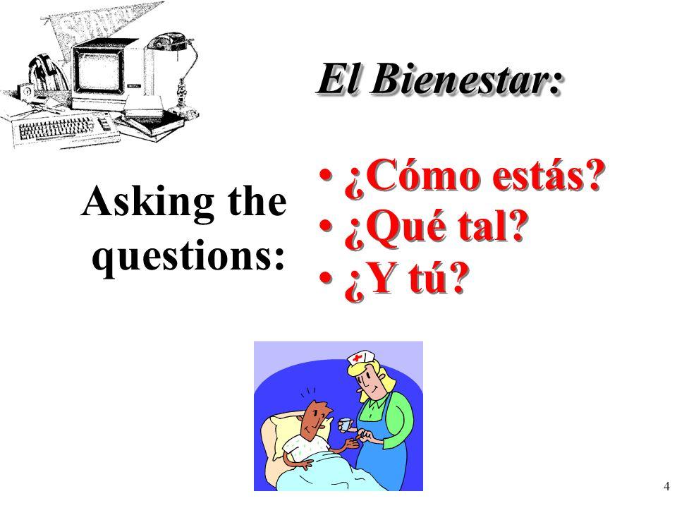4 El Bienestar: ¿Cómo estás? Asking the questions: ¿Qué tal? ¿Y tú?