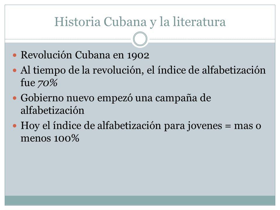 El gobierno Cubano y La literatura Los relaciónes con otros gobiernos estaba limitado por el gobierno Cubano Por consiguiente, la literatura cubana no está conocido todo el mundo El gobierno no permite a los autores cubanos a salir, usualmente También, hasta recientemente, los autores necesitan el permiso del gobierno cuando quieren publicar su trabajo
