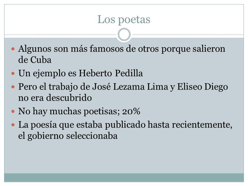 Los poetas Algunos son más famosos de otros porque salieron de Cuba Un ejemplo es Heberto Pedilla Pero el trabajo de José Lezama Lima y Eliseo Diego n