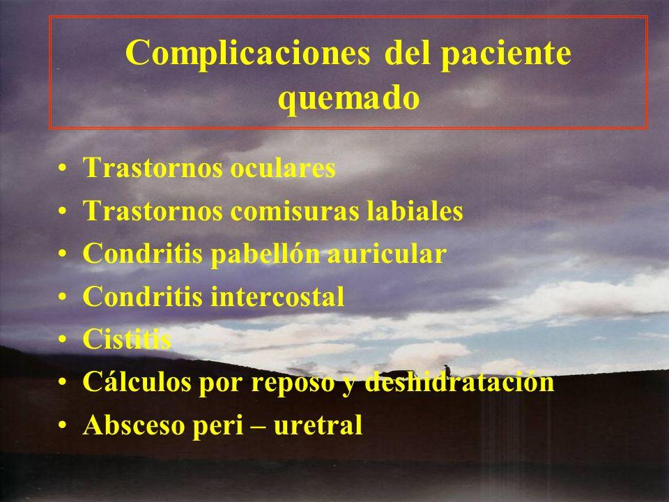 Complicaciones del paciente quemado Trastornos oculares Trastornos comisuras labiales Condritis pabellón auricular Condritis intercostal Cistitis Cálc