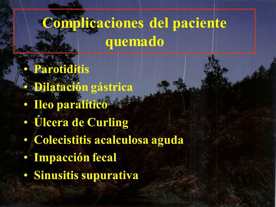 Complicaciones del paciente quemado Parotiditis Dilatación gástrica Ileo paralítico Úlcera de Curling Colecistitis acalculosa aguda Impacción fecal Si