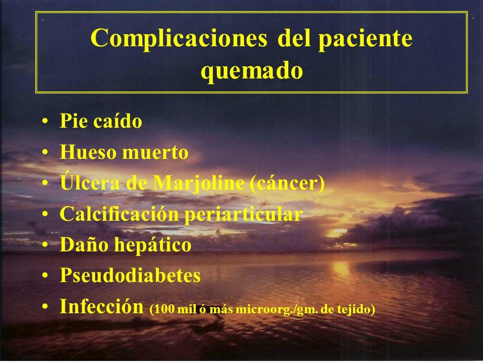 Complicaciones del paciente quemado Pie caído Hueso muerto Úlcera de Marjoline (cáncer) Calcificación periarticular Daño hepático Pseudodiabetes Infec
