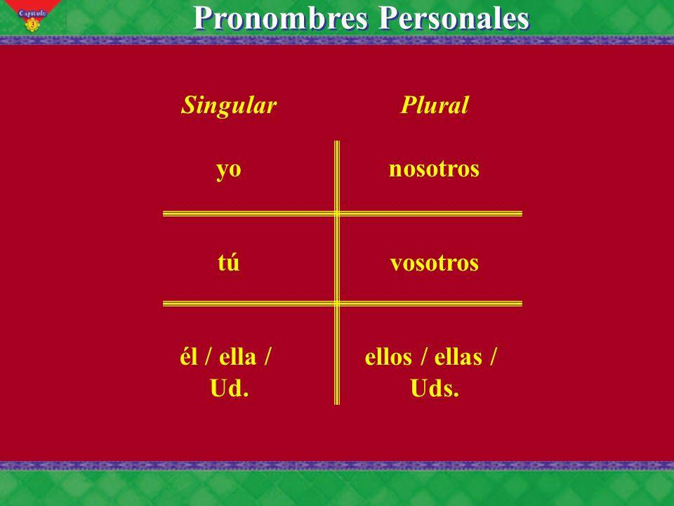 3 Singular yo tú él / ella / Ud. Plural nosotros vosotros ellos / ellas / Uds. Pronombres Personales