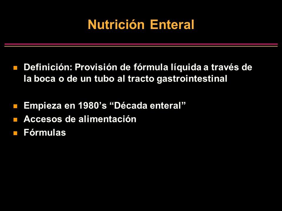 Nutrición Enteral Definición: Provisión de fórmula líquida a través de la boca o de un tubo al tracto gastrointestinal Empieza en 1980s Década enteral