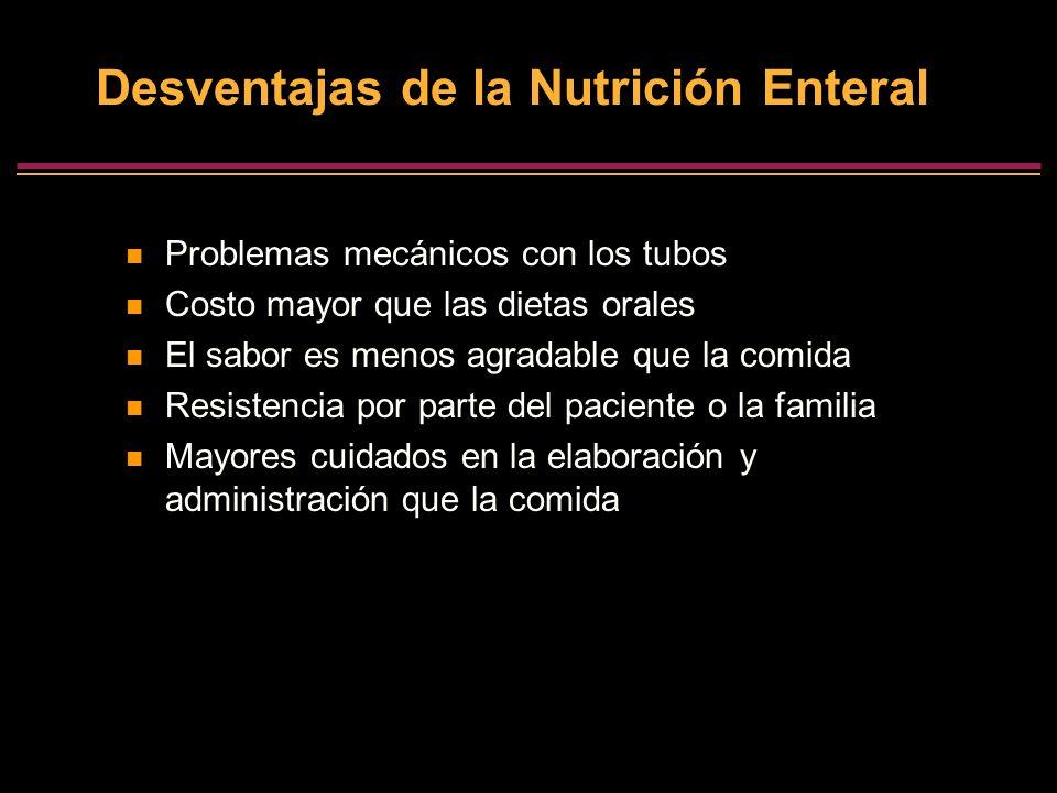 Desventajas de la Nutrición Enteral Problemas mecánicos con los tubos Costo mayor que las dietas orales El sabor es menos agradable que la comida Resi