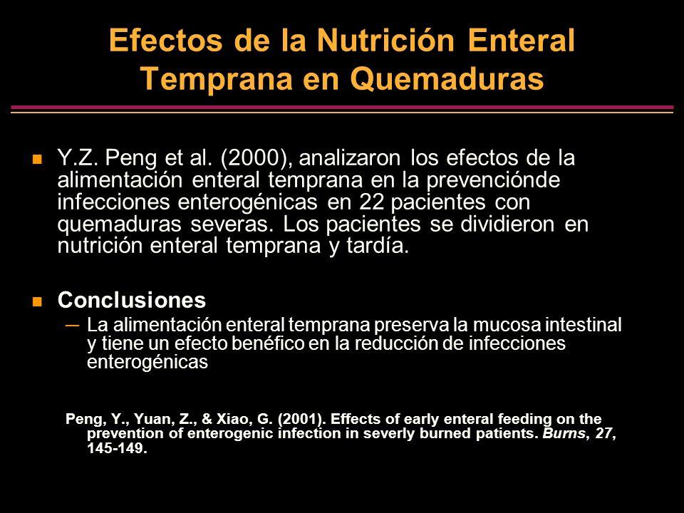 Efectos de la Nutrición Enteral Temprana en Quemaduras Y.Z. Peng et al. (2000), analizaron los efectos de la alimentación enteral temprana en la preve
