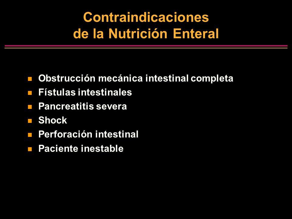 Contraindicaciones de la Nutrición Enteral Obstrucción mecánica intestinal completa Fístulas intestinales Pancreatitis severa Shock Perforación intest