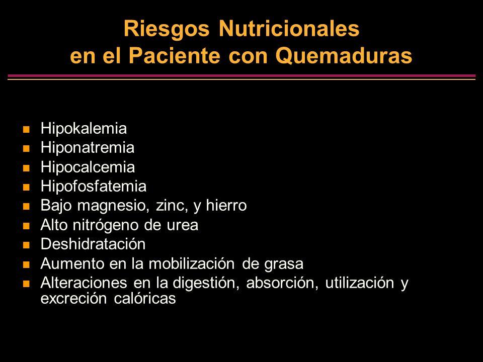 Riesgos Nutricionales en el Paciente con Quemaduras Hipokalemia Hiponatremia Hipocalcemia Hipofosfatemia Bajo magnesio, zinc, y hierro Alto nitrógeno