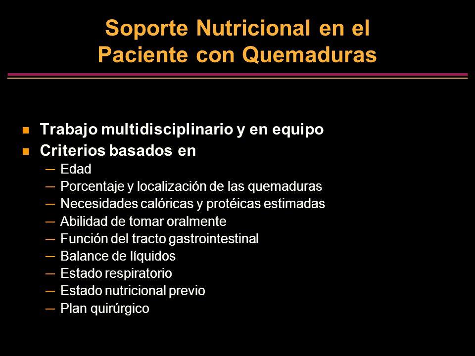 Soporte Nutricional en el Paciente con Quemaduras Trabajo multidisciplinario y en equipo Criterios basados en Edad Porcentaje y localización de las qu