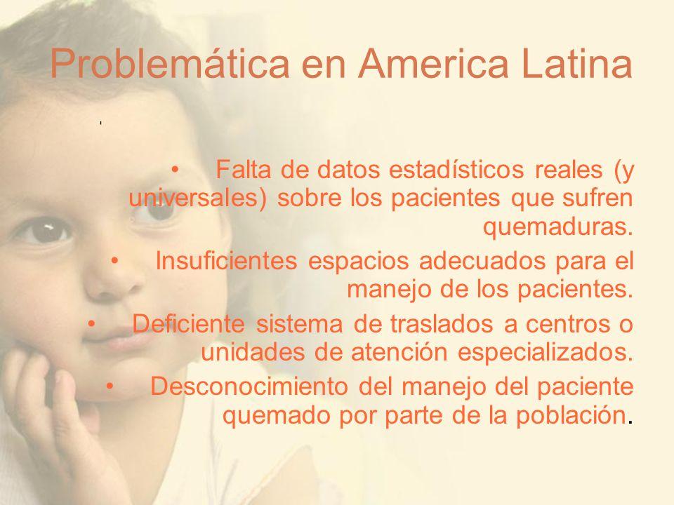 Problemática en America Latina Falta de datos estadísticos reales (y universales) sobre los pacientes que sufren quemaduras. Insuficientes espacios ad