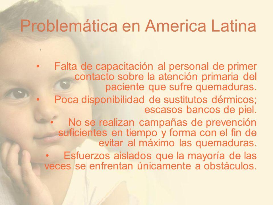 Problemática en America Latina Falta de capacitación al personal de primer contacto sobre la atención primaria del paciente que sufre quemaduras. Poca