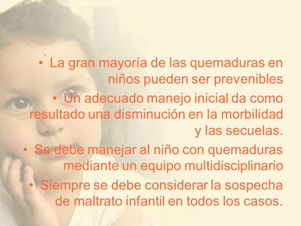 La gran mayoría de las quemaduras en niños pueden ser prevenibles Un adecuado manejo inicial da como resultado una disminución en la morbilidad y las