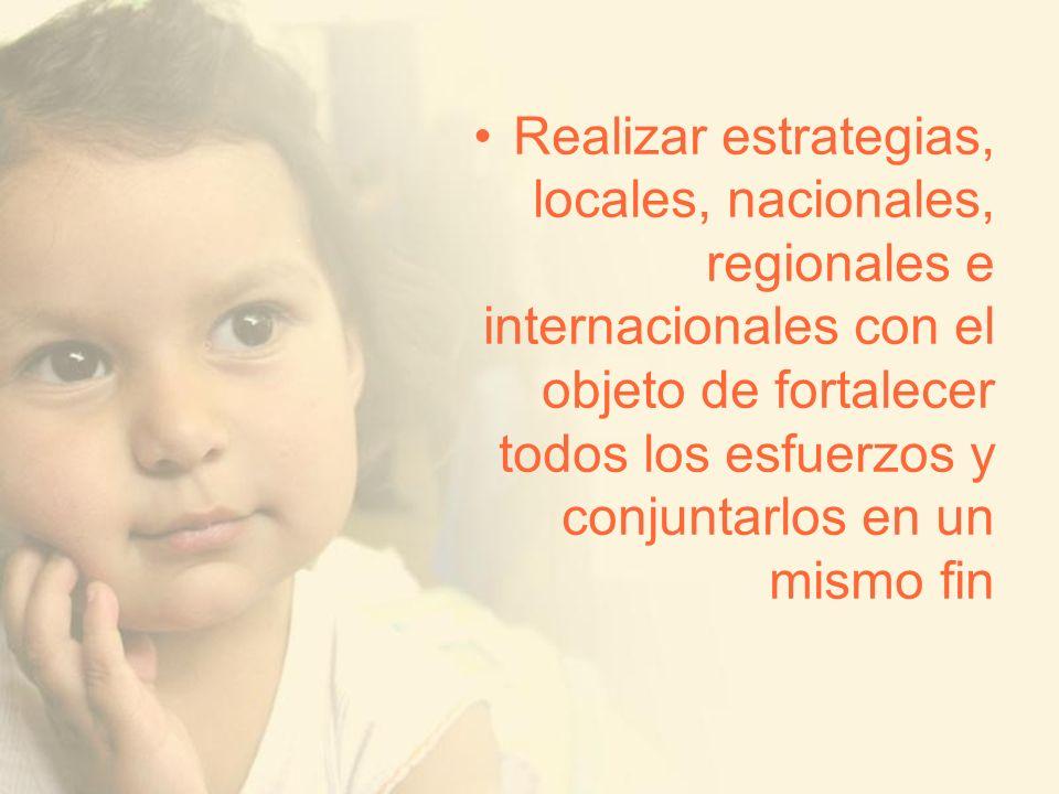 Realizar estrategias, locales, nacionales, regionales e internacionales con el objeto de fortalecer todos los esfuerzos y conjuntarlos en un mismo fin