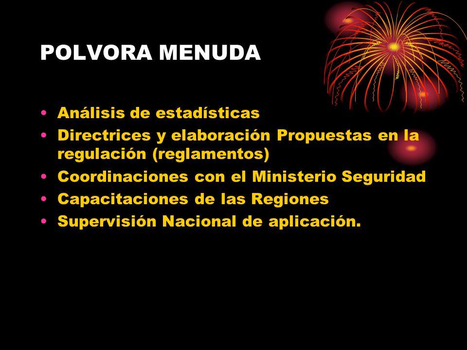 POLVORA MENUDA Análisis de estadísticas Directrices y elaboración Propuestas en la regulación (reglamentos) Coordinaciones con el Ministerio Seguridad