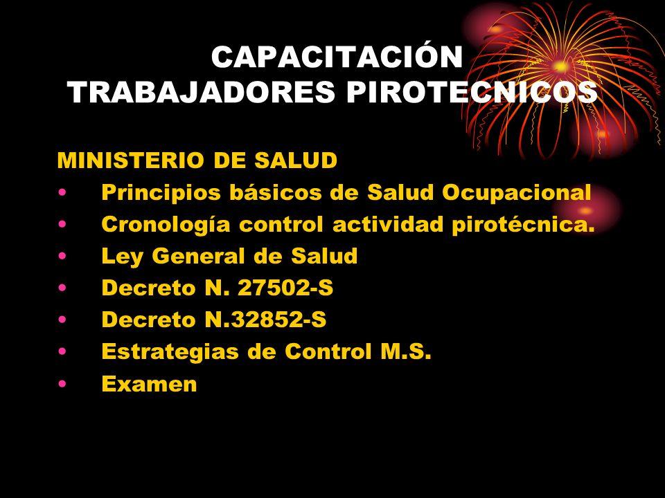 CAPACITACIÓN TRABAJADORES PIROTECNICOS MINISTERIO DE SALUD Principios básicos de Salud Ocupacional Cronología control actividad pirotécnica. Ley Gener