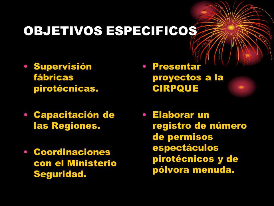 OBJETIVOS ESPECIFICOS Supervisión fábricas pirotécnicas. Capacitación de las Regiones. Coordinaciones con el Ministerio Seguridad. Presentar proyectos