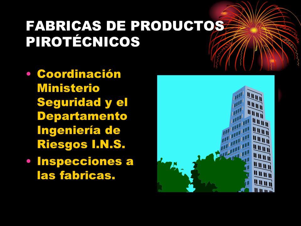 FABRICAS DE PRODUCTOS PIROTÉCNICOS Coordinación Ministerio Seguridad y el Departamento Ingeniería de Riesgos I.N.S. Inspecciones a las fabricas.