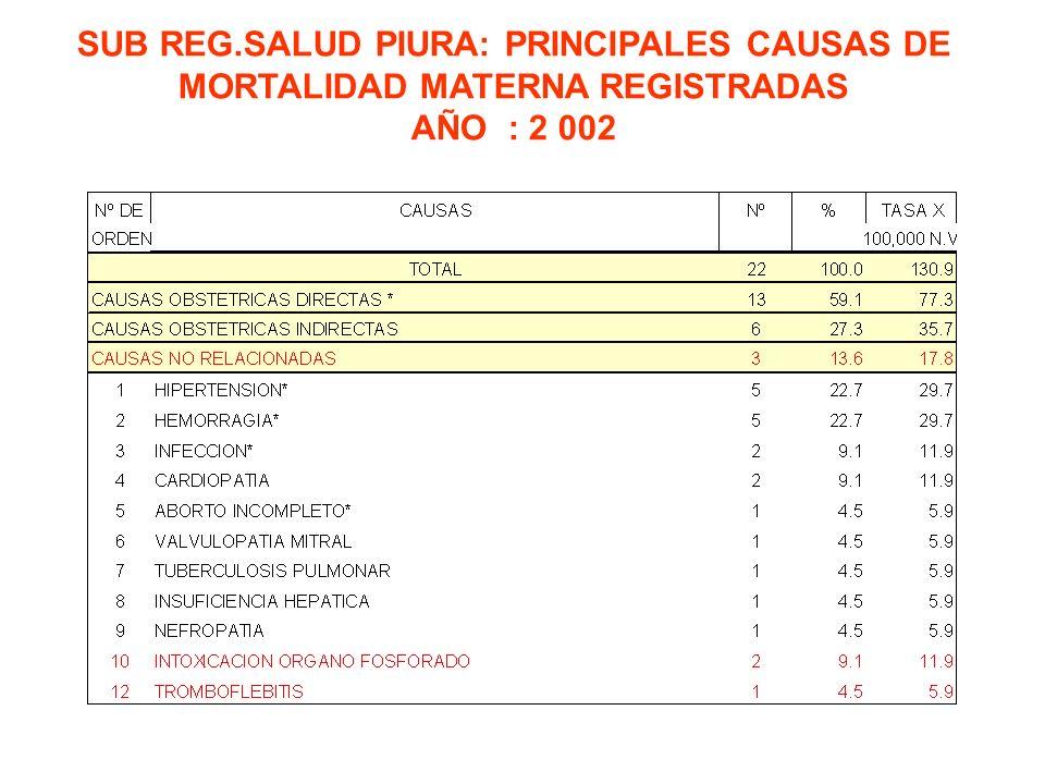 SUB REG.SALUD PIURA: PRINCIPALES CAUSAS DE MORTALIDAD MATERNA REGISTRADAS AÑO : 2 002