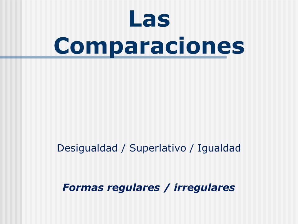 Las Comparaciones Desigualdad / Superlativo / Igualdad Formas regulares / irregulares