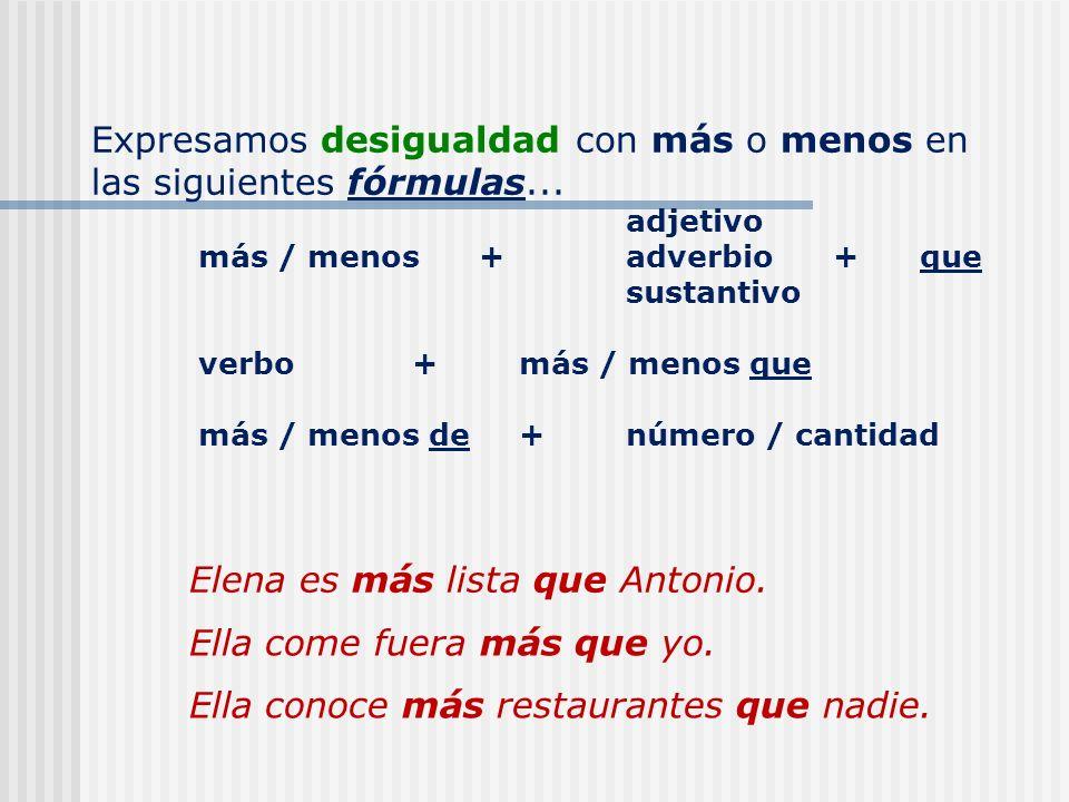 Completen con expresiones de igualdad.1. Miguel es ______ listo ______ Manolo.