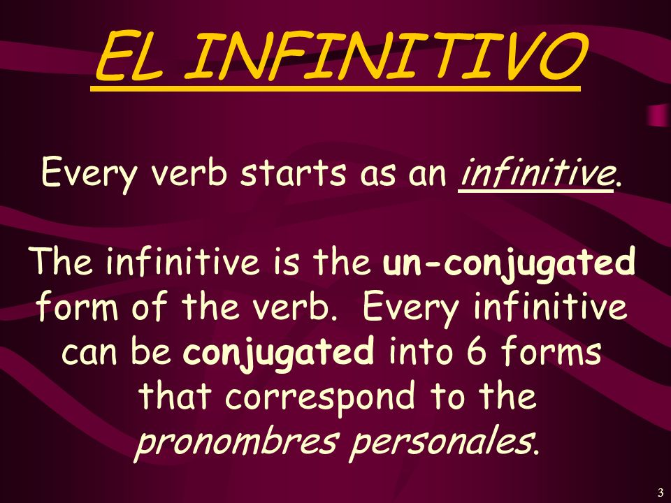 3 EL INFINITIVO Every verb starts as an infinitive.