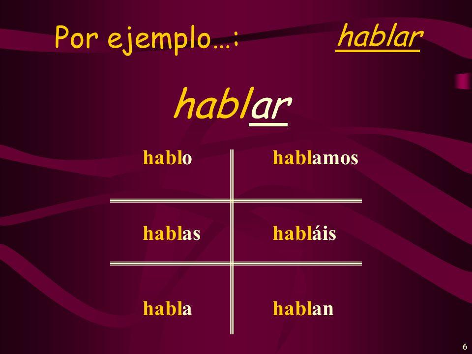 5 To form the present tense: STEM + Verb ending -o -as -a -amos -áis -an