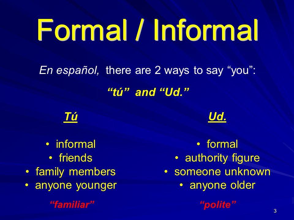 2 Los Pronombres Personales (Subject Pronouns) Singular yo tú él / ella / Ud. Plural nosotros vosotros ellos / ellas / Uds. I you he / she / you we yo