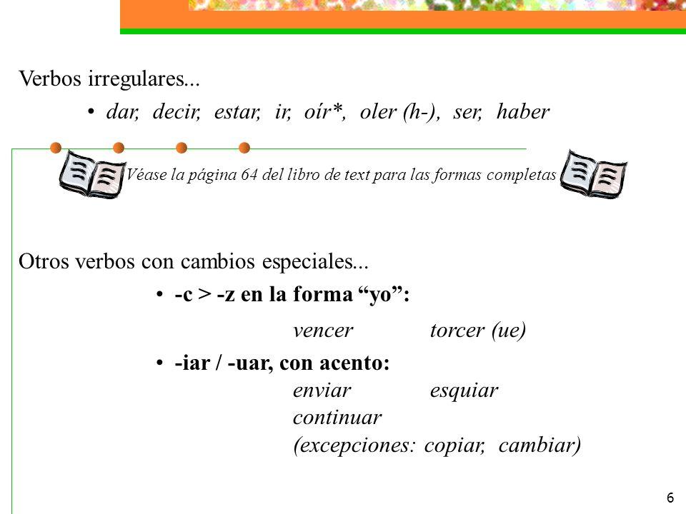 6 Verbos irregulares...