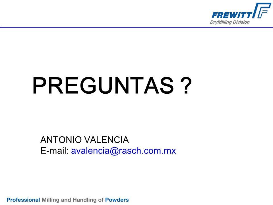 PREGUNTAS ? ANTONIO VALENCIA E-mail: avalencia@rasch.com.mx